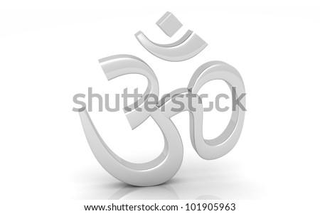 3D silver Hinduism Symbol. ohm - stock photo