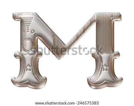 3D silver metallic illustration of an English alphabet letter M in graphic style with ornaments on isolated white background. - stock photo