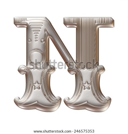 3D silver metallic illustration of an English alphabet letter N in graphic style with ornaments on isolated white background. - stock photo