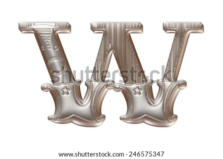 3D silver metallic illustration of an English alphabet letter W in graphic style with ornaments on isolated white background. - stock photo