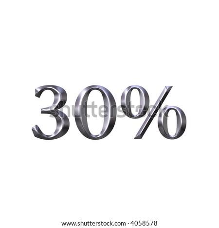 3D Silver 30 Percent - stock photo