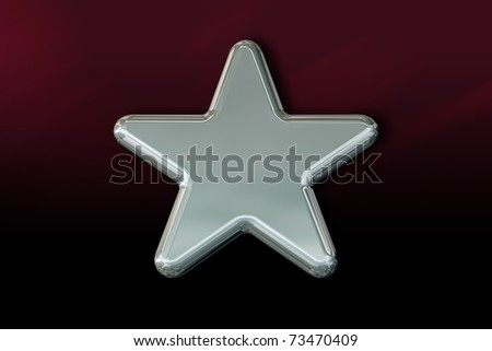 3D Silver Star on a Red Background - stock photo
