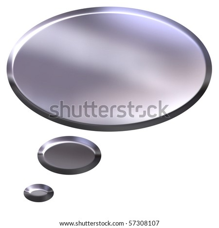 3d silver thought bubble - stock photo