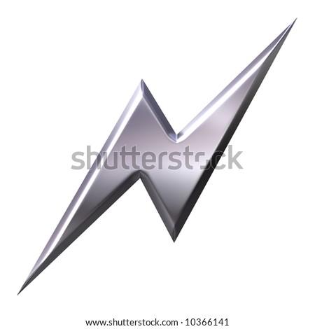 3d silver thunderbolt - stock photo
