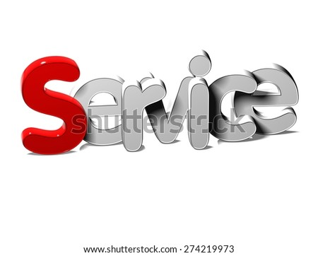3D Silver Word Service on white background - stock photo