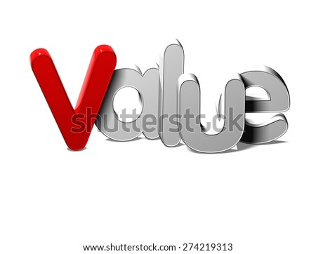 3D Silver Word Value on white background - stock photo
