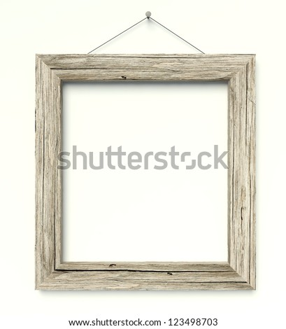 3d Simple old circle wooden frame, vintage background - stock photo