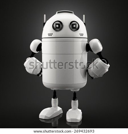 3d single standing robot. Black background - stock photo