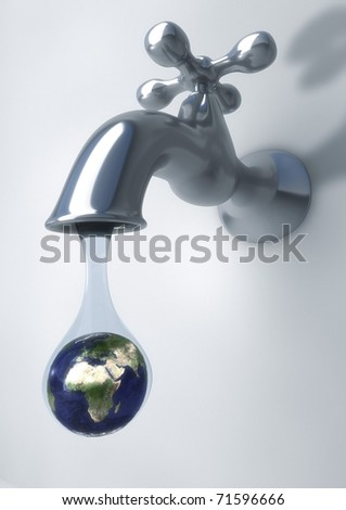 3d sink leaking a drop with earth inside(drought concept) - stock photo