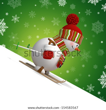 3d skiing snowman, Christmas character - stock photo