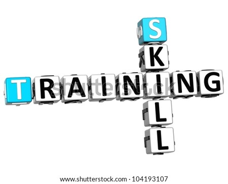 3D Skill Training Crossword on white background - stock photo