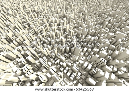 3d skyline of a crowd city, aerial view - stock photo