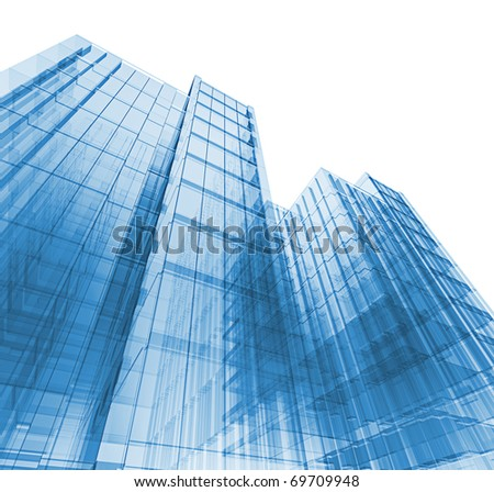 3d skyscrapers. My personal concept architectural project - stock photo