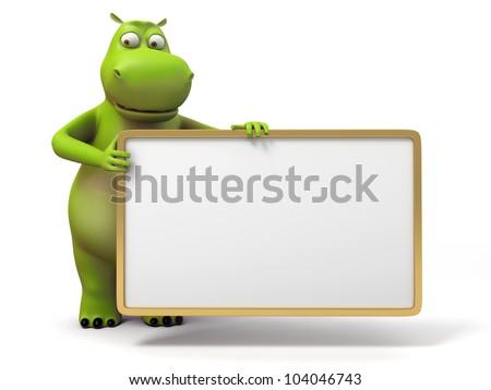 3d small hippo holding a empty board - stock photo