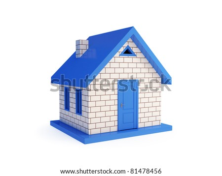 3d small house. Isolated on white background. - stock photo