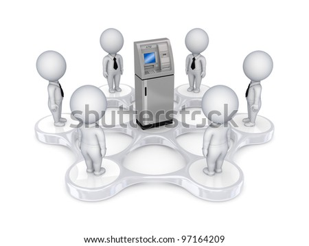 3d small people around ATM.Isolated on white background. - stock photo