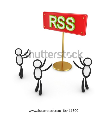 3d small people around red bunner with a word RSS. Isolated on white background. - stock photo