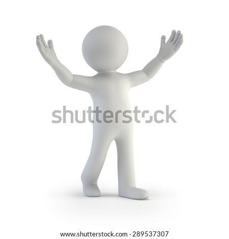 3d small people - astonishment - stock photo