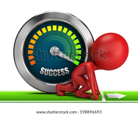3d small people at the start of next to success meter. 3d image. White background. - stock photo