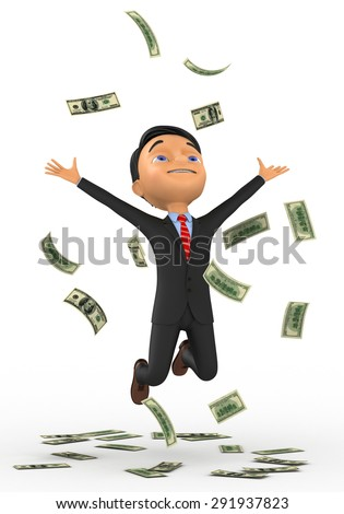 3d small people bathing in a heap of money. 3d image. Isolated white background - stock photo