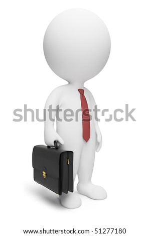 3d small people - businessman with a portfolio and a tie. 3d image. Isolated white background. - stock photo