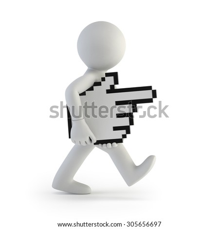 3d small people - carries hand cursor - stock photo