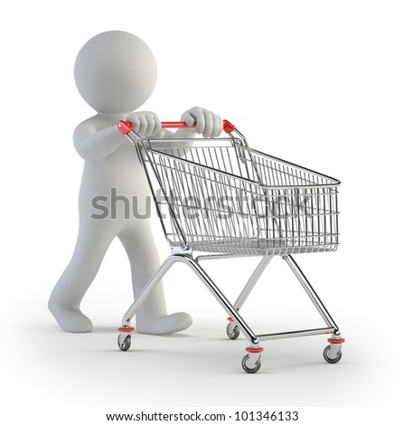 3d small people - cart - stock photo