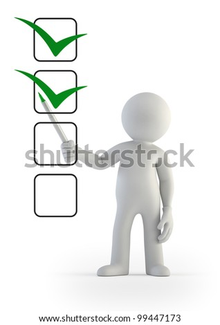 3d small people - checklist - stock photo