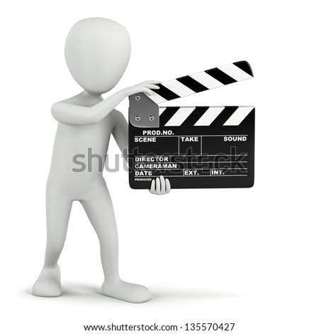 3D small people - cinema clapper. 3D image. On a white background. - stock photo
