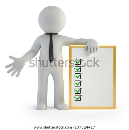 3d small people - clipboard - stock photo