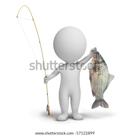 3d small people - fisherman with a fishing tackle and fish. 3d image. Isolated white background. - stock photo