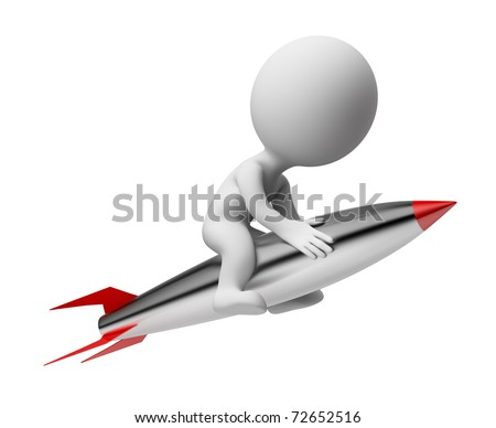 3d small people flying on the rocket. 3d image. Isolated white background. - stock photo