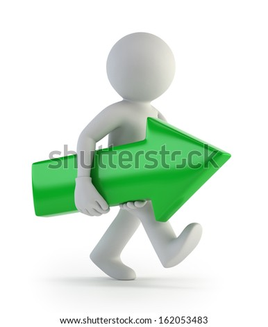 3d small people - forward arrow - stock photo