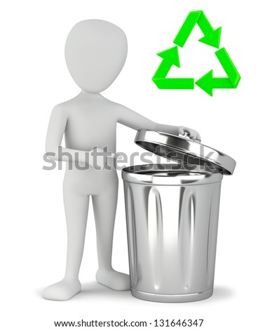 3d small people - garbage recycling. 3D image. On a white background. - stock photo