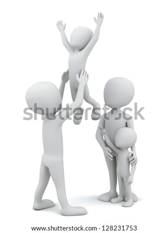 3d small people-happy family. 3D image. On a white background. - stock photo