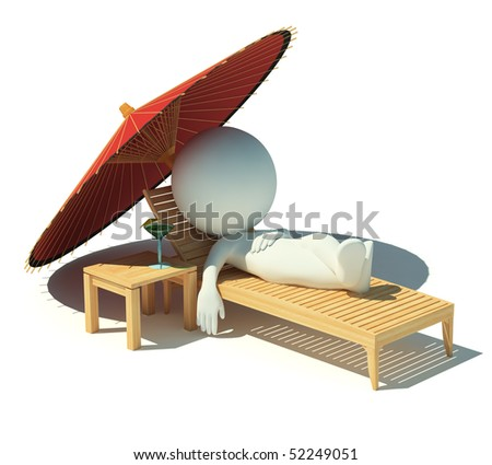 3d small people having a rest under an parasol on a chaise lounge. 3d image. Isolated white background. - stock photo