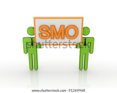 3d small people holding in a hands big bunner with a word SMO.Isolated on white. - stock photo