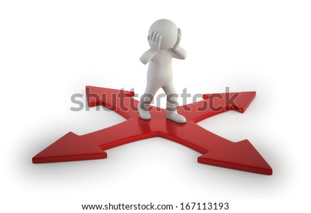 3d small people - intersection - stock photo