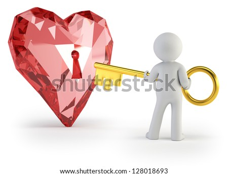 3d small people - key from heart - stock photo