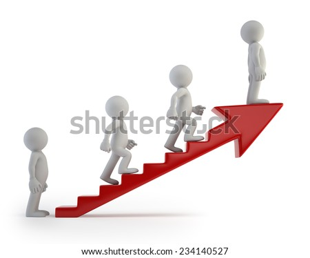 3d small people - Ladder of Success - stock photo