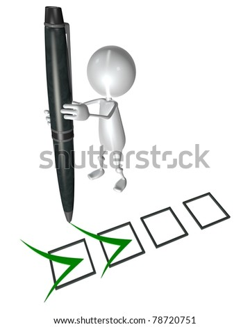 3d small people marking ticks in the checklist. 3d image. Isolated white background. - stock photo