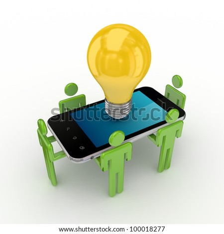 3d small people, modern mobile phone and idea symbol. Isolated on white background. - stock photo