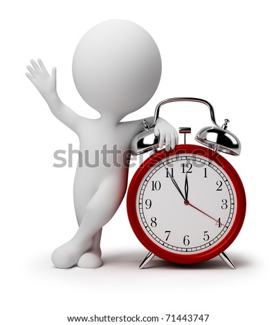 3d small people near to an alarm clock. 3d image. Isolated white background. - stock photo