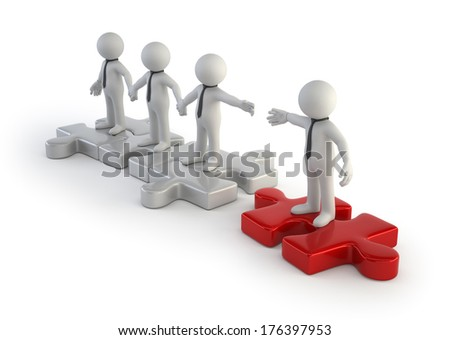 3d small people - new player in the team - stock photo