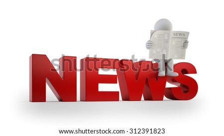 3d small people - news - stock photo