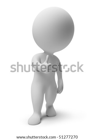 3d small people - okay. 3d image. Isolated white background. - stock photo