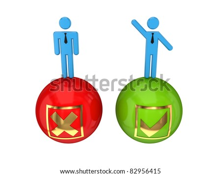 3d small people on a glossy bolls with a negative and positive symbols. 3D rendered. Isolated on white background. - stock photo