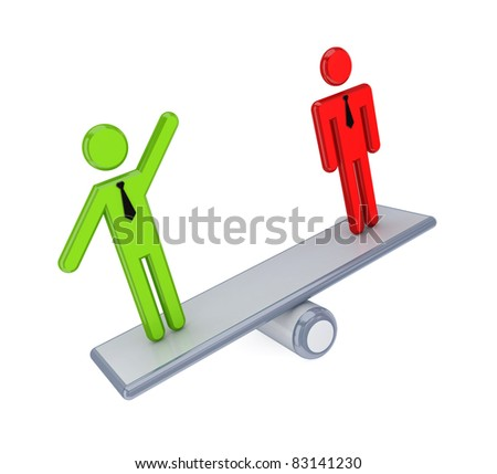 3d small people on a simple scales. Isolated on white background. - stock photo