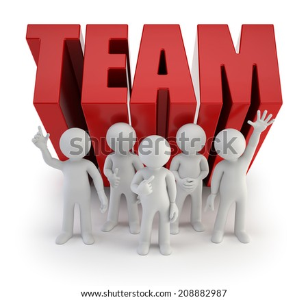 3d small people - reliable team - stock photo