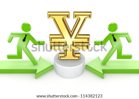 3d small people running to yen symbol.Isolated on white background.3d rendered. - stock photo